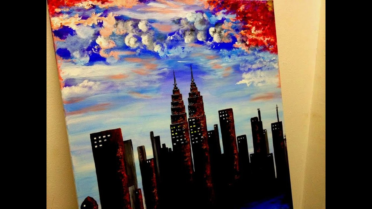twin towers acrylic painting on canvas youtube