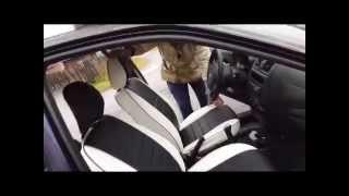 видео Чехлы на Лада Калина (ЭКОкожа + перфорация) серые кирпичи