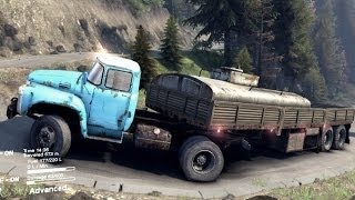 SPINTIRES 2014 - Zil 130 + Utility Trailer Going Up Hill