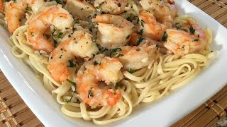 How To Make Shrimp Scampi-Linguine Pasta-Italian Food Recipes