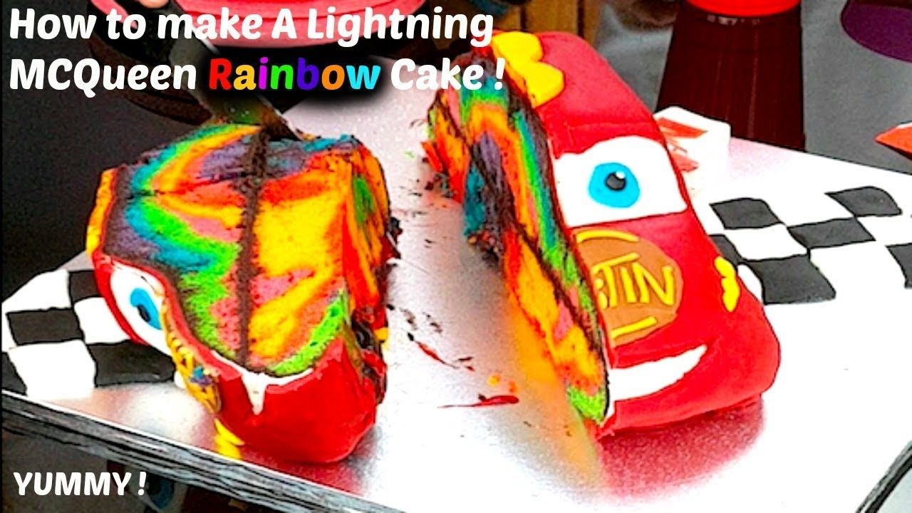 How To Make A Cars 3 Lightning McQueen Rainbow Cake