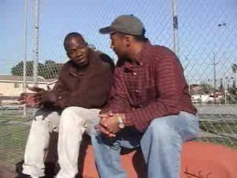 OG Madd Ronald from the Rollin' 20s Bloods at Loren Miller Park in the West  Adams section of LA