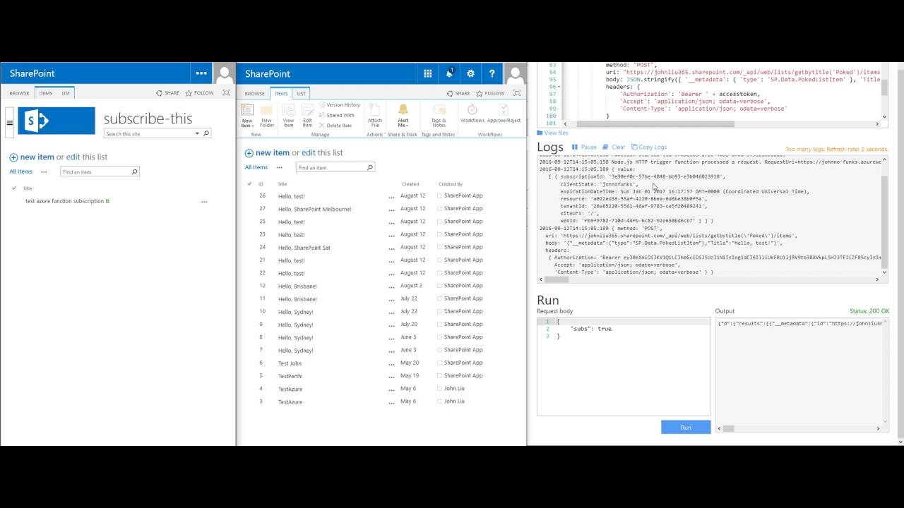 Working with SharePoint WebHooks with JavaScript using an