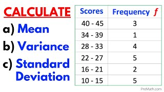Find the Mean, Variance, & Staฑdard Deviation of Frequency Grouped Data Table| Step-by-Step Tutorial