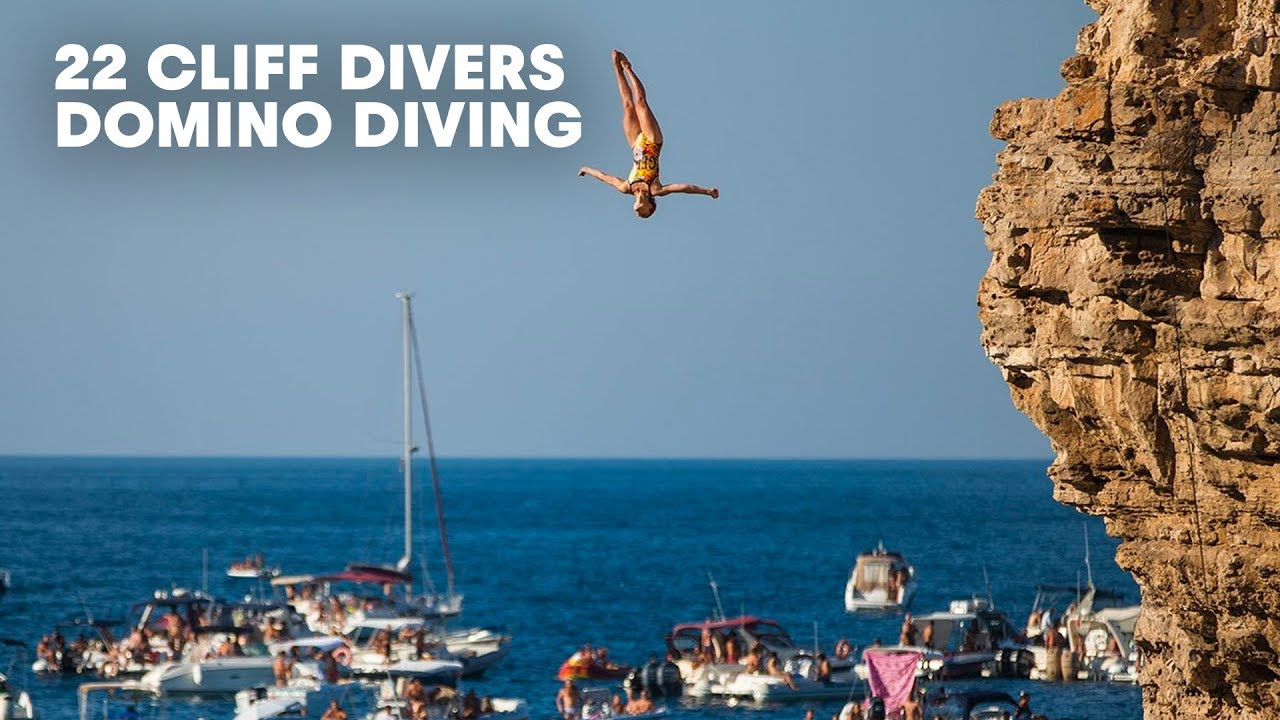 Domino dive 22 of the world 39 s best cliff divers show off at once youtube - Highest cliff dive ...
