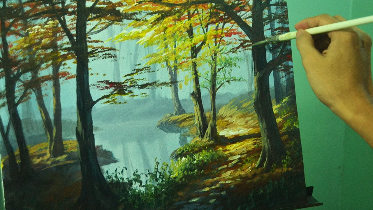 Acrylic Landscape Painting Tutorial Autumn In Forest By