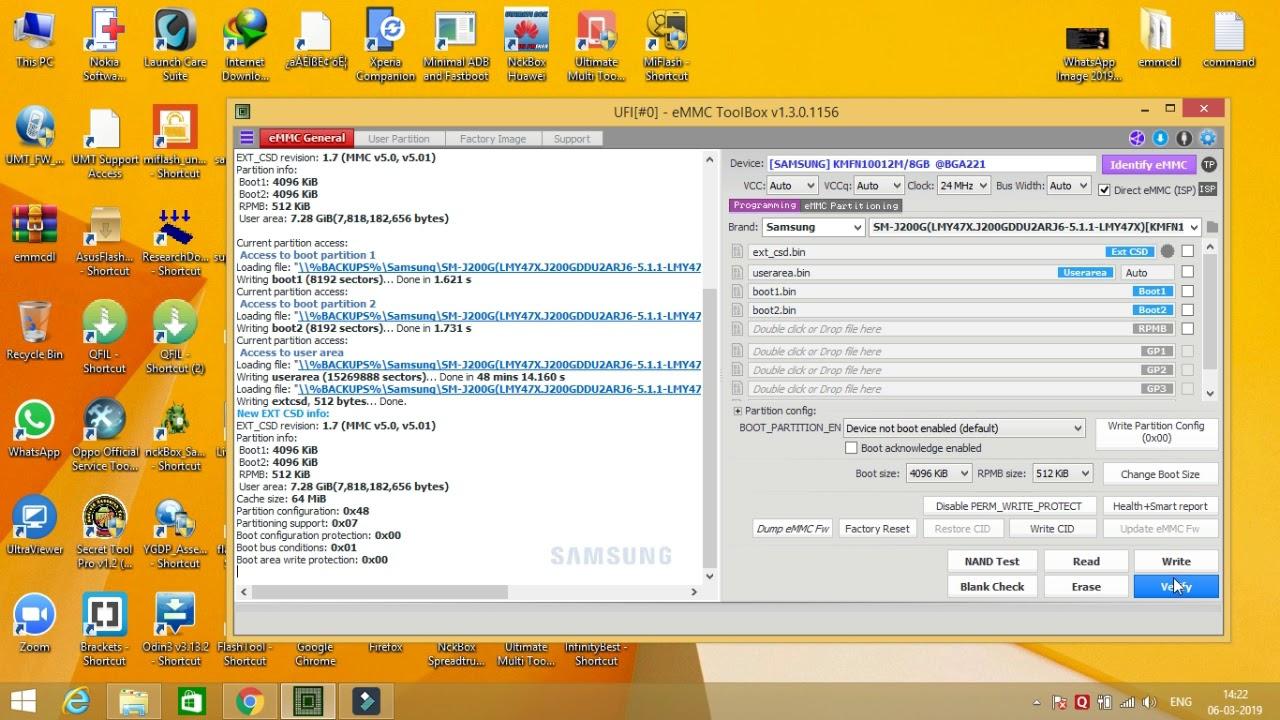 SAMSUNG J200g EMMC dead boot repair BY UFI box