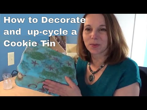 DIY Decorated Cookie Tin - upcycle with decoupage - Ocean Themed
