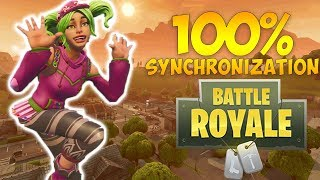 100% SYNCHRONISED FORTNITE ZANY DANCES!!! - FORTNITE BATTLE ROYALE NEW DANCE - ZOEY SKIN - ZYNETRIX