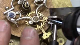 "Repairing the Brocot Escapement, part 3 ""Setting New Pallet Jewels"""