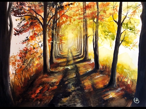 Watercolor Autumn Trees Painting Demonstration