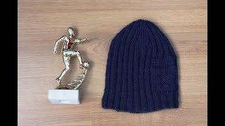 МК Демисезонная шапка на мальчика, связанная спицами. Классическая.  1-й способ закрытия макушки.