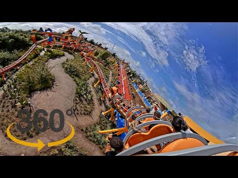 Slinky Dog Dash last row 360 POV - OPENING DAY with vloggers - Toy Story Land VR 4K 5K