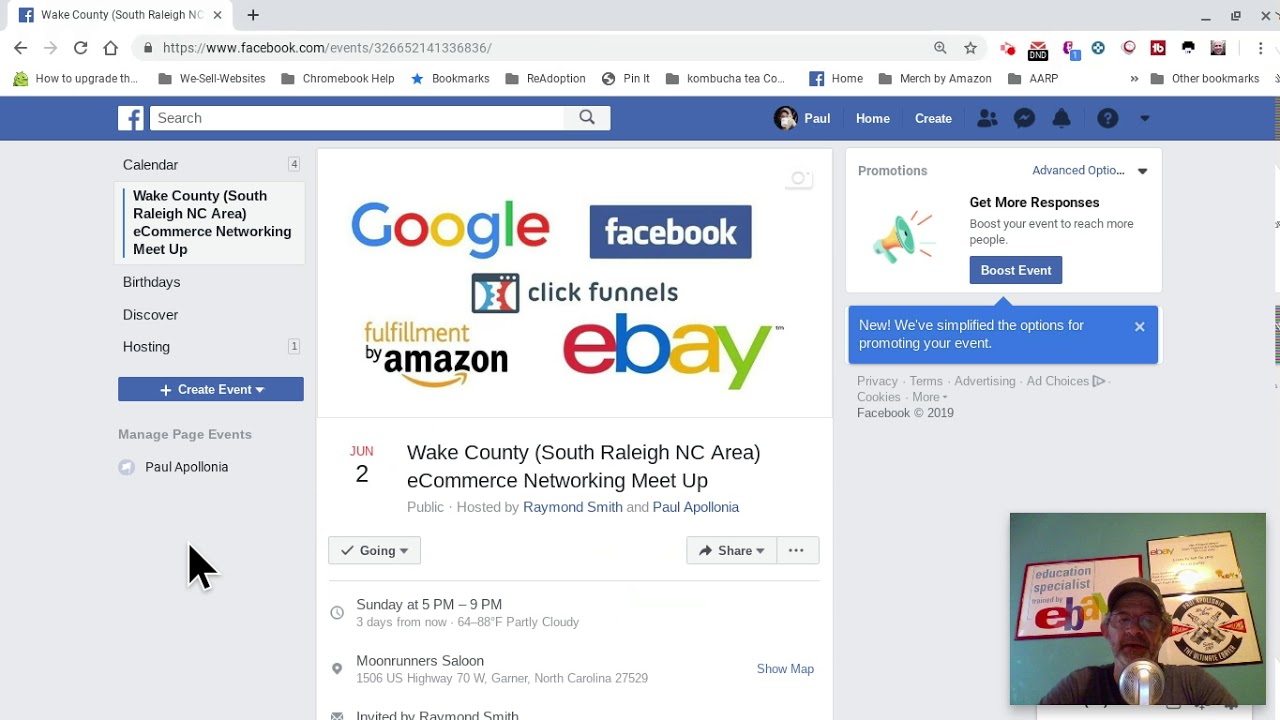 Amazon, ebay Google, facebook, click funnels, Meetup June 2 2019 Raleigh NC