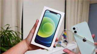 green iphone 12 unboxing & setup | no talking!!