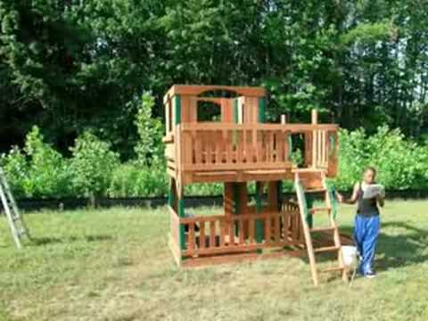 Building A Playhouse Set With Slide Youtube
