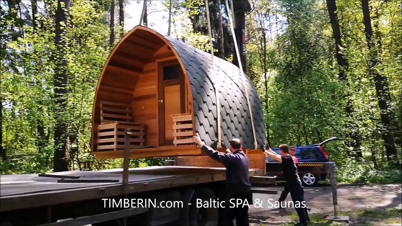 Outdoor Garden Wooden Sauna Unloading From The Truck