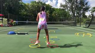 Coach Dabul, tennis training 10 years old  player Marcela Roversi. Tennis drills + footwork