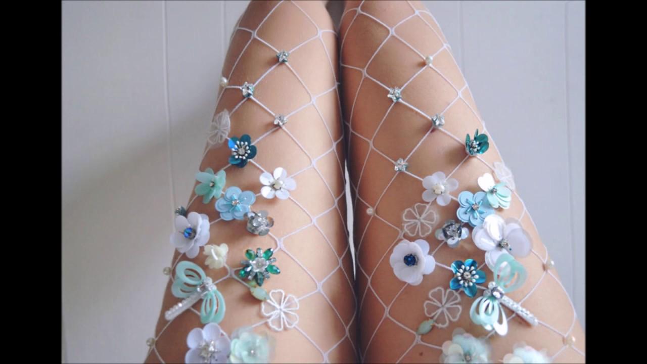 b0424d20ab27d Embellished Fishnet Tights Slideshow - YouTube