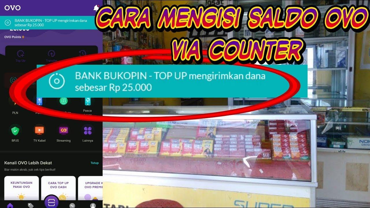 Cara mengisi saldo ovo via counter - YouTube