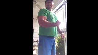 Randall Morris flex.  Pensacola health club shirt.