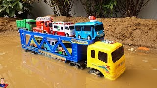 Truck crossing on Deep Water | Learn Colors with Tayo The Little Bus Toys