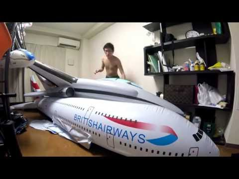 Inflate and deflate 4 meters long airplane