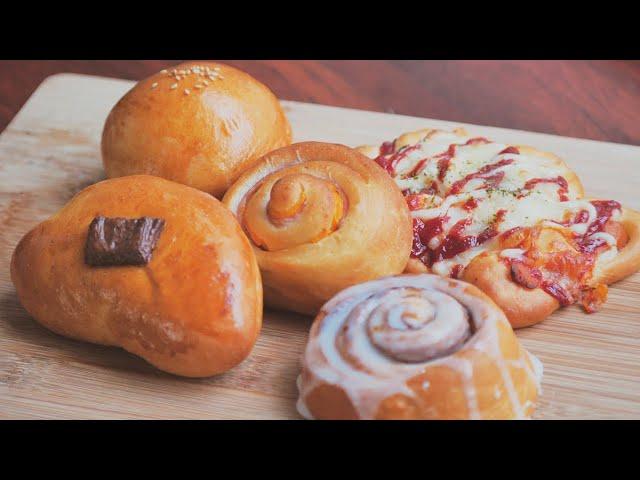 만능반죽 2탄! 누구나 손쉽게 만들수있는 빵 반죽으로 5가지 빵 만들기. 시나몬롤, 햄치즈빵, 초코빵, 낙엽소시지빵, 생크림팥빵 만들기