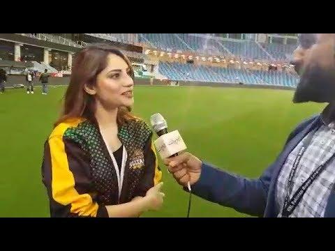 Multan Sultans Brand Ambassadors Neelam Munir & Ahsan Khan in Dubai Stadium - PSL 3