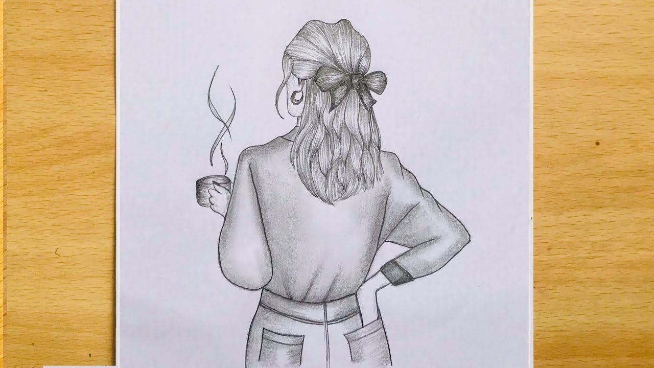 How to Draw a Girl with a Coffee Mug   Step by Step Easy   Pencil Sketch