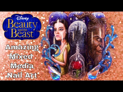 Beauty and the Beast - Mixed Media Nail Art - Hand Painted, 3D Acrylic, 3D Hard Gel Design