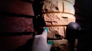 Забор из рваного кирпича Фагот ПК слоновая кость комбинированный с планкеном +7(926)618-71-18(Поставим облицовочный кирпич завода