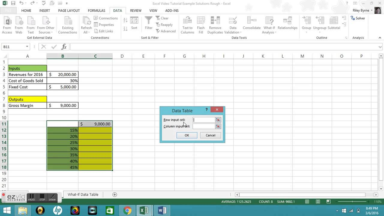 one variable data table excel  Microsoft Excel Tutorial: One-variable Data Tables - YouTube