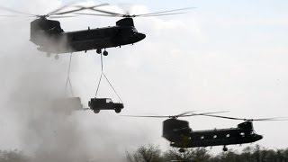 Royal Netherlands Air Force military exercise with CH-47 and AH-64 helicopters