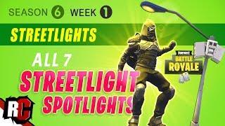 Fortnite WEEK 1 Dance Under Streetlight Spotlights (Season 6 Challenge   All Streetlight Locations)