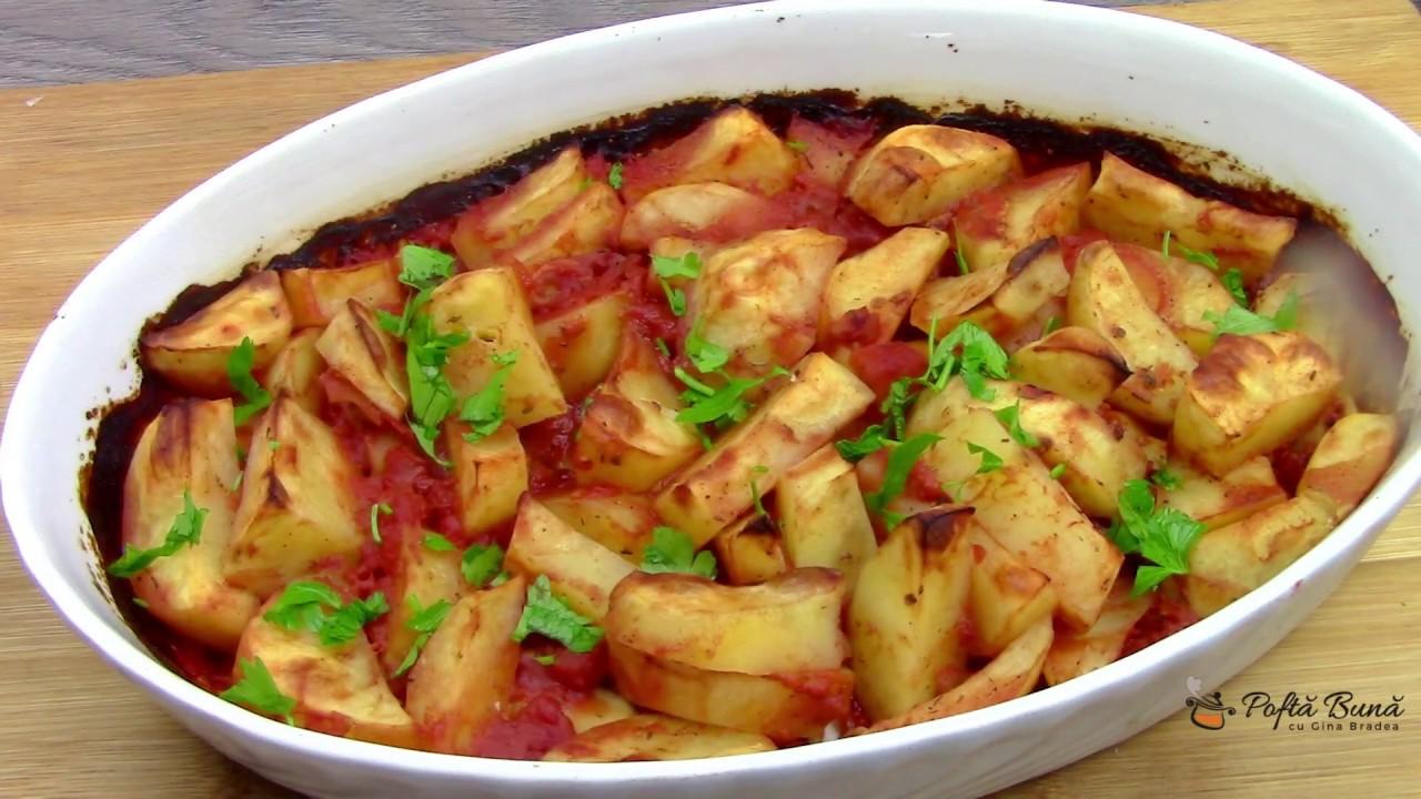 Cartofi la cuptor cu rosii si usturoi, reteta de post sau pentru dieta Rina - Gina Bradea