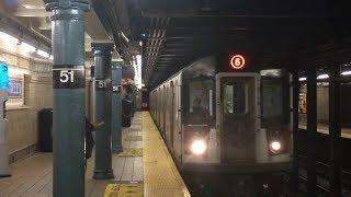 IRT/IND Subway: (6) and (F) Trains @ Lexington Avenue 51st-53rd Street (R62A, R142, R142A, R160)