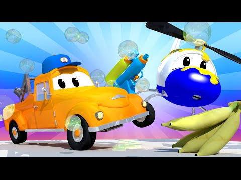 Tom the Tow Truck's Car Wash - Hector the Helicopter 3 - Car City ! Cars and Trucks Cartoon for kids