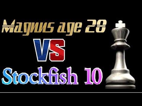 Magnus Carlsen age 28  Vs stockfish (chess.com) level 10.