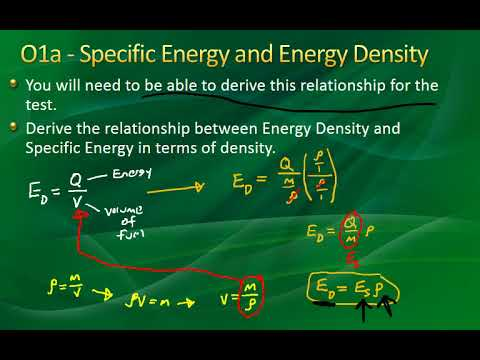 105   Energy Production   Energy Density and Specific Energy with Problem Solving O1, O1a, O1b, O2
