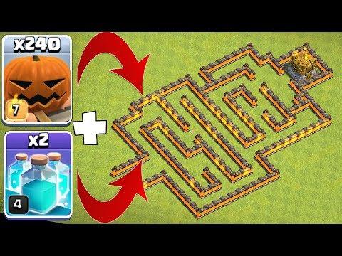 300 PUMPKIN MAN MAZE!! | Clash of clans | TROLL GAMEPLAY!!