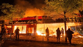Scenes of Chaos in Minneapolis, Minnesota as Buildings Burn during 4th day of George Floyd Protests