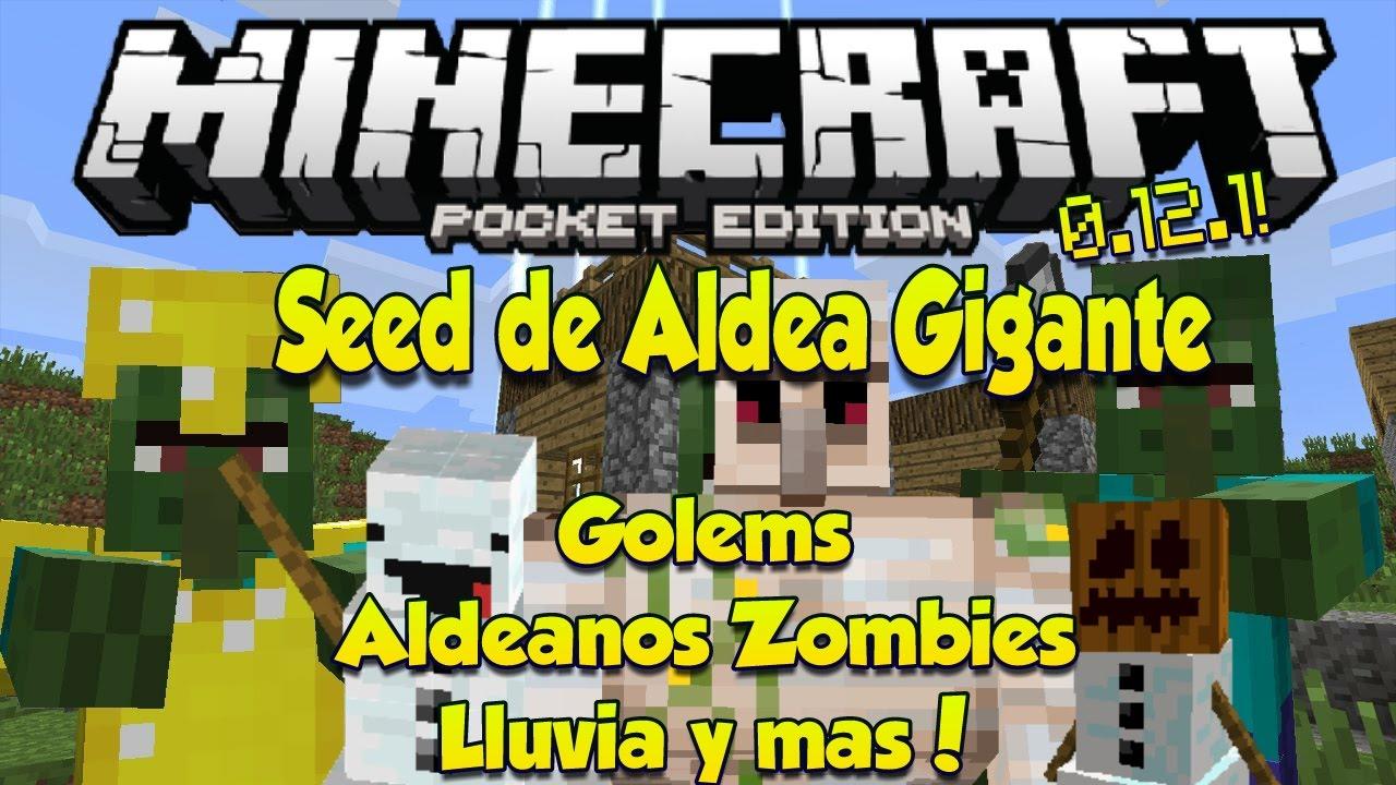 Minecraft Pe 1 0 - Seed Con Aldea Gigante - Lluvia - Aldeanos - Zombies Op - Golems Y Mas