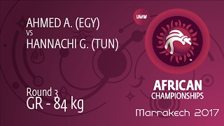 Round 3 GR - 84 kg: A. AHMED (EGY) df. G. HANNACHI (TUN) by TF, 12-1