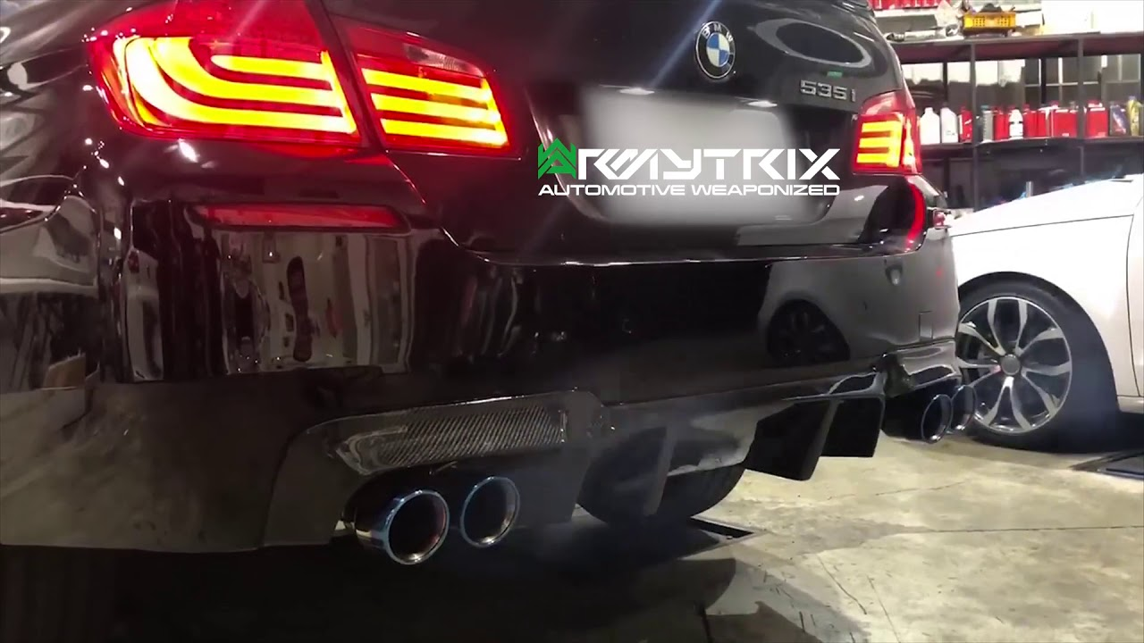 armytrix stainless steel valvetronic catback exhaust system quad blue coated tips bmw 535i f10 rwd 2011 2019