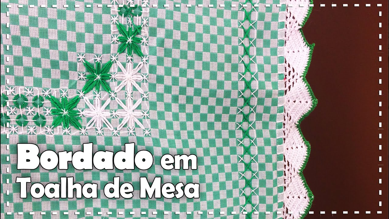 BORDADO XADREZ EM TOALHA DE MESA com Ana Maria Ronchel Programa Arte Brasil 22 08 2016 YouTube -> Decoração De Mesa Xadrez