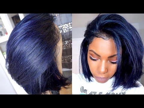 RAVEN MIDNIGHT BLUE HAIR COLOR AND CUT TUTORIAL DENIM BLUE HAIR