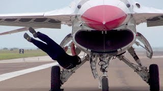 USAF Thunderbirds F-16 On The Flight Line – Pre-flight Checks/Takeoffs/Landings