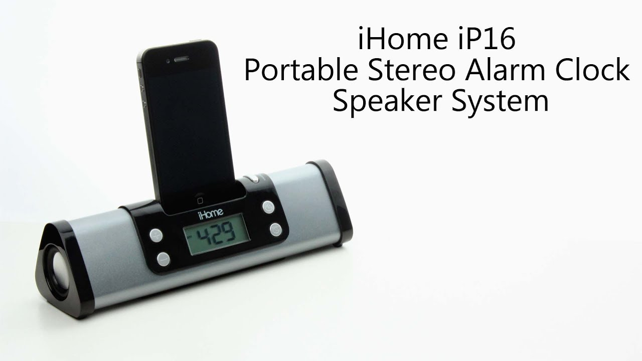 ihome ip16 portable stereo alarm clock speaker system. Black Bedroom Furniture Sets. Home Design Ideas