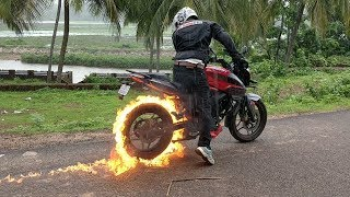Tyre Blast - Fire Burnout On New Bajaj Pulsar NS 200
